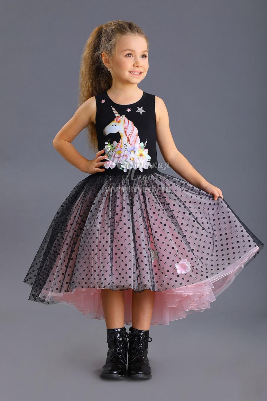 Платье для девочки черно-розовое