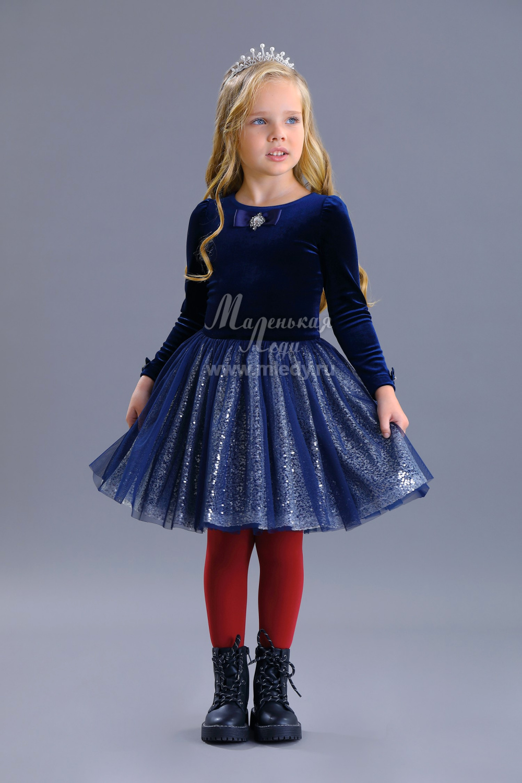 Нарядное платье для девочки синее