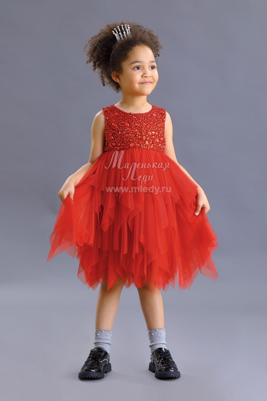 Детское платье из сетки красное